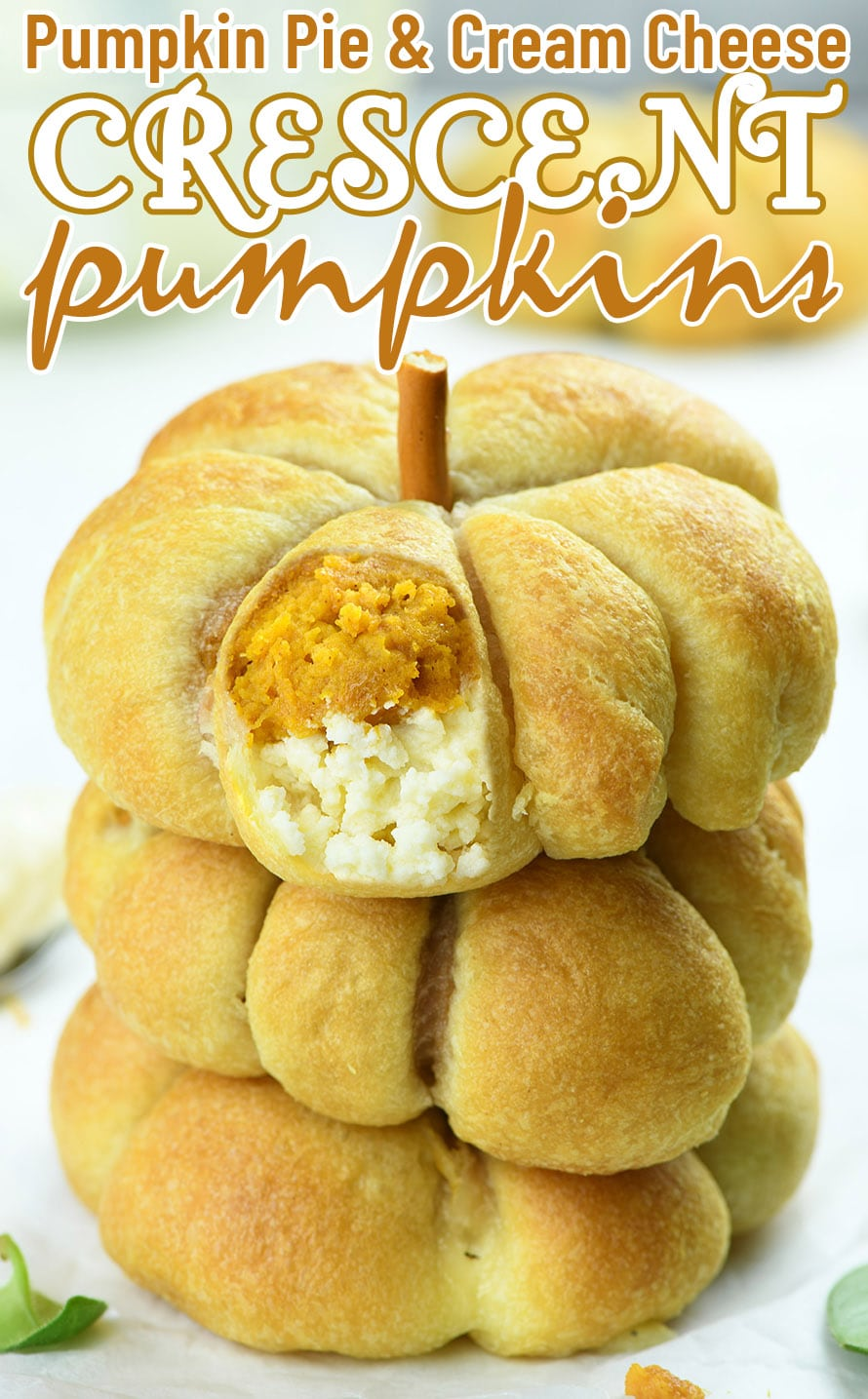 Crescent Pumpkins with Cream Cheese and Pumpkin Pie Filling are delicious fall breakfast, dessert, or snack. Smooth cream cheese and sweet pumpkin pie filling are wrapped in the luscious crescent dough for a perfect fall treat.