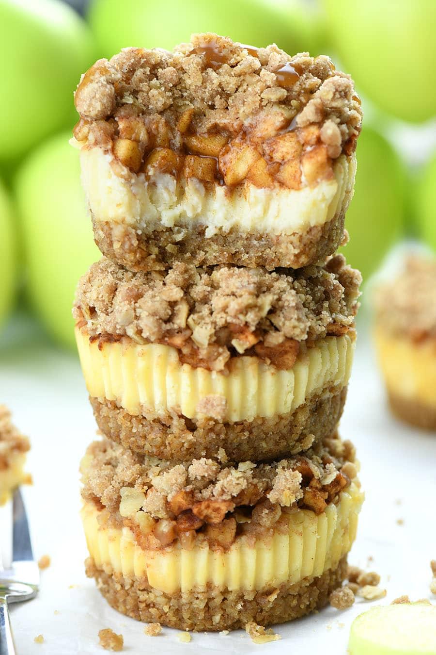 Three Apple Crisp Mini Cheesecakes.